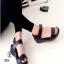 รองเท้าแตะส้นเตารีดแบบรัดข้อเท้า (สีดำ )