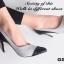 รองเท้าคัทชูส้นสูง หัวแหลม แต่งทูโทน (สีเทา ) thumbnail 5