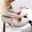 รองเท้าคัทชูส้นสูง หัวแหลม ผ้าลายลูกไม้ (สีเงิน ) thumbnail 4