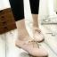 รองเท้าคัทชูส้นเตี้ย หัวแหลม แบบผูกเชือก (สีชมพู ) thumbnail 4