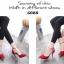 รองเท้าส้นสูง รัดข้อเท้า หัวแหลมสีทอง (สีแดง ) thumbnail 4