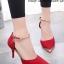 รองเท้าส้นสูง รัดข้อเท้า หัวแหลมสีทอง (สีแดง ) thumbnail 1