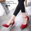 รองเท้าส้นสูง รัดข้อเท้า หัวแหลมสีทอง (สีแดง ) thumbnail 2