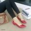 รองเท้าคัทชูส้นเตี้ย หัวแหลม ขอบหยัก (สีแดง) thumbnail 3