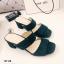 รองเท้าส้นสูงแบบสวม สายคาด2สาย หนังกลับ (สีเขียว ) thumbnail 3