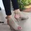 รองเท้าส้นสูงรัดข้อ เปิดส้น สไตล์ปราด้า (สีเทา)