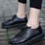 รองเท้าผ้าใบ สไตล์Dr.matens หนังนิ่ม (สีดำ )