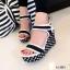 รองเท้าส้นเตารีดปบบรัดข้อเท้า ลายจุด (สีดำ ) thumbnail 2