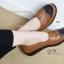 รองเท้าคัทชูเพื่อสุขภาพ สีทูโทน หนังเย็บ (สีน้ำตาล ) thumbnail 2
