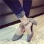 รองเท้าคัทชูส้นสูง รัดข้อเท้า แต่งหมุด (สีเทา ) thumbnail 6