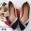 รองเท้าคัทชูหัวแหลม แต่งโบว์ สีทูโทน (สีดำ ) thumbnail 3