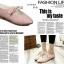 รองเท้าคัทชูส้นเตี้ย หัวแหลม แบบผูกเชือก (สีชมพู ) thumbnail 2