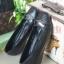 รองเท้าคัทชูส้นเตี้ย หัวตัด แต่งโบว์สีเงิน (สีดำ )