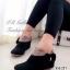รองเท้าบูทผู้หญิง หนังชามัวนิ่ม แต่งโบว์ข้าง (สีดำ )