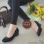 รองเท้าคัทชูส้นเตารีด หัวตัด แต่งอะไหล่สีรมควัน (สีดำ ) thumbnail 3