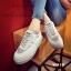 รองเท้าผ้าใบผู้หญิง สไตล์เกาหลี ผ้าแคนวาสแต่งกำมะหยี่ (สีเทา ) thumbnail 3