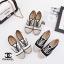รองเท้าผ้าใบผู้หญิง ผ้าแคนวาส เพิ่มความเก๋ด้วยเชือกปอถัก STYLE CHANEL (สีดำ ) thumbnail 7