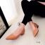 รองเท้าคัทชู ส้นสูง หัวแหลม หน้าวี หนังซ้อน (สีแทน ) thumbnail 2