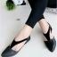 รองเท้าส้นเตี้ยรัดส้น หัวแหลม สไตล์Zara (สีดำ )
