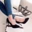 รองเท้าคัทชูส้นสูง หนังกลับ ทรงสวย (สีดำ ) thumbnail 3