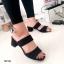 รองเท้าส้นสูงแบบสวม สายคาด2สาย หนังกลับ (สีดำ ) thumbnail 2