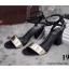 รองเท้าส้นสูงสีทอง ทรงาส้นตัน สูง2นิ้ว หน้าสวม รัดส้น thumbnail 2