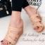 รองเท้าส้นเตารีดส้นไม้แบบสวม (สีทอง )