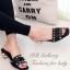 รองเท้าแตะส้นเตี้ย ทรงสวม แต่งหมุด (สีดำ ) thumbnail 1