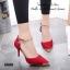 รองเท้าส้นสูง รัดข้อเท้า หัวแหลมสีทอง (สีแดง ) thumbnail 3