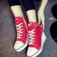 รองเท้าผ้าใบส้นเตารีด สายรัดเมจิกเทป (สีแดง )