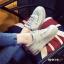 รองเท้าผ้าใบผู้หญิง สไตล์เกาหลี ผ้าแคนวาสแต่งกำมะหยี่ (สีเทา ) thumbnail 4