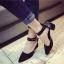 รองเท้าคัทชูส้นสูง รัดข้อเท้า แต่งหมุด (สีดำ ) thumbnail 4