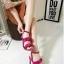 รองเท้าส้นสูงสีชมพู ผ้าสักหราด ทรงส้นเข็ม สูง 4 นิ้ว
