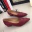 รองเท้าคัทชู ส้นสูง หัวแหลม หน้าวี หนังซ้อน (สีแดง ) thumbnail 2