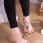 รองเท้าแตะส้นแบน ดส้น ทรงคีบ (สีครีม )