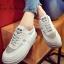 รองเท้าผ้าใบผู้หญิง สไตล์เกาหลี ผ้าแคนวาสแต่งกำมะหยี่ (สีเทา ) thumbnail 1