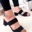 รองเท้าส้นสูงแบบสวม สายคาด2สาย หนังกลับ (สีดำ )