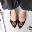 รองเท้าส้นแบนหัวแหลม สไตล์ Manolo-Blahnik (สีดำ ) thumbnail 4