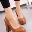 รองเท้าคัทชูส้นสูง หัวกลม ทรงสุภาพ (สีน้ำตาล )