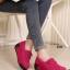 รองเท้าผ้าใบเสริมส้น วัสดุหนังกลับ แต่งภู่พร้อมโบว์ (สีชมพู ) thumbnail 1
