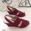 รองเท้าส้นเตารีดแบบรัดส้น งานหนัง (สีแดง ) thumbnail 3