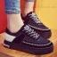 รองเท้าผ้าใบผู้หญิง สไตล์เกาหลี ผ้าแคนวาสแต่งกำมะหยี่ (สีดำ )