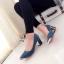 รองเท้าคัทชูส้นสูง หัวแหลม แต่งขอบทอง (สีฟ้า ) thumbnail 3