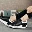 รองเท้าผ้าใบสีดำ ทรงสปอร์ต สูง 2 นิ้ว ซับใบนิ่ม thumbnail 9