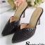 รองเท้าส้นสูงหัวแหลม ทรงส้นเข็ม (สีดำ)