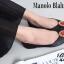 รองเท้าส้นแบนหัวแหลม สไตล์ Manolo-Blahnik (สีดำ ) thumbnail 2