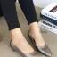 รองเท้าคัทชูส้นเตี้ย หัวแหลม ขอบหยัก (สีเทา)