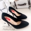 รองเท้าคัทชูส้นสูง หนังกลับ ทรงสวย (สีดำ ) thumbnail 2