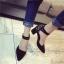 รองเท้าคัทชูส้นสูง รัดข้อเท้า แต่งหมุด (สีดำ ) thumbnail 2