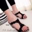 รองเท้าส้นเตารีดแบบเปิดส้น สายคาดเปีย (สีดำ )